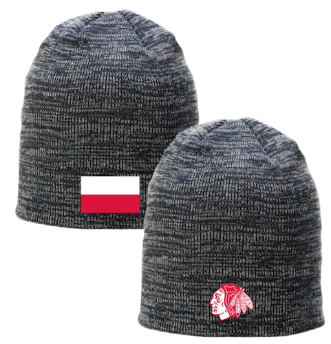 19-20 Chicago Blackhawks giveaway winter hat beanie for polish heritage night